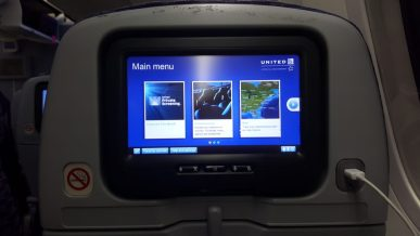 United in-flight entertainment while flying to Rio on the Dreamliner