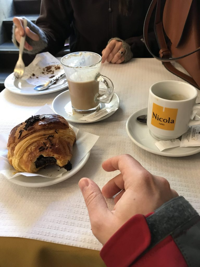 Pastries and cappuccinos