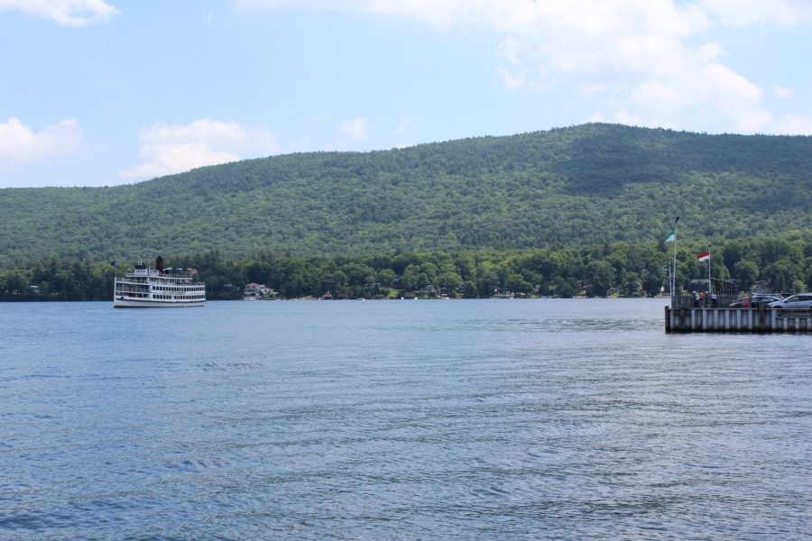 Lake George with a steamboat