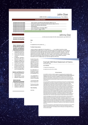 Resume, cover letter and selection criteria