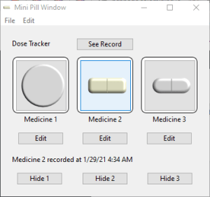 window showing three medicines to track.