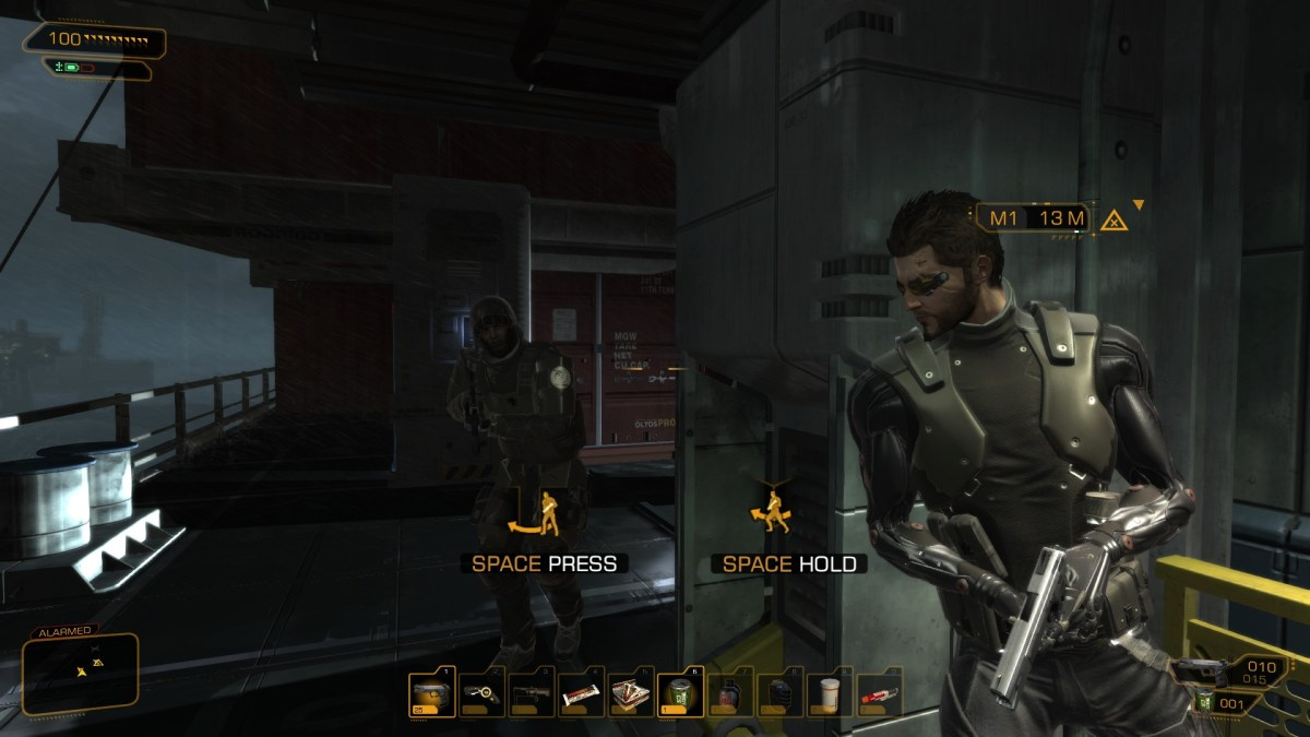 The player waits around a corner for a Belltower soldier