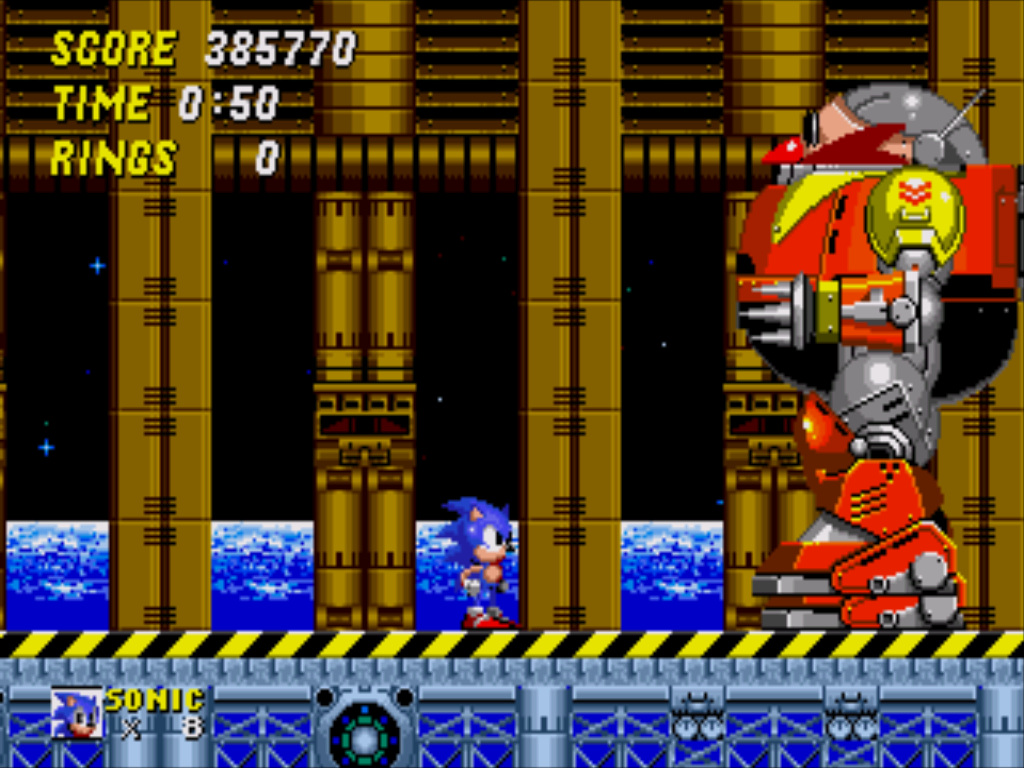 Sonic faces Doctor Robotnik's final contraption, a gigantic mechanised version of himself