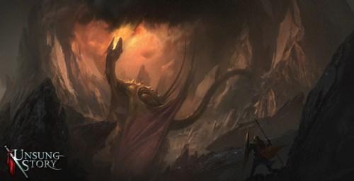 Unsung Story dragon battle concept art
