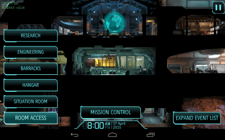 The main screen provides a simple navigation system.