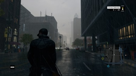 The weather effects in Watch_Dogs are pretty spectacular. You get wetter the longer you stand in the rain.