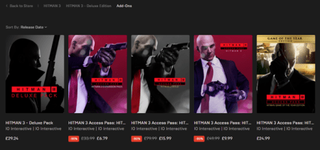 Hitman 3 Epic Store Access Pack page