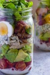 Mason Jar Cobb Salad with lemony herb yogurt dressing