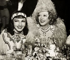 Claudette Colbert and Marion Davies