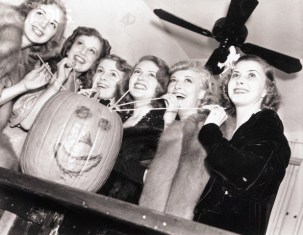 "Anne Shirley (Mrs. John Payne), Carol Stone, Rosina Lawrence, Lana Turner, Vicki Lester and Natalie Draper (Mrs. Tom Brown) are pictured (left to right) as they sipped a ""pumpkin soda"" at the party given by Turner in 1938."
