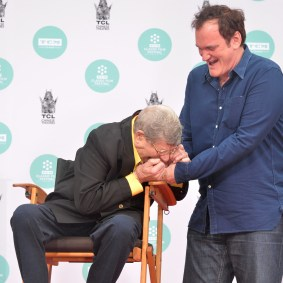 HOLLYWOOD, CA - APRIL 12: Comedian Jerry Lewis and director Quentin Tarantino attend the Jerry Lewis Hand and Footprint Ceremony at TCL Chinese Theatre during the 2014 TCM Classic Film Festival on April 12, 2014 in Hollywood, California. (Photo by Alberto E. Rodriguez/WireImage) *** Local Caption *** Jerry Lewis; Quentin Tarantino