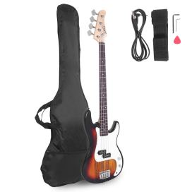 Glarry Electric Bass Guitar Full Size 4 String Rosewood Basswood Fire Style Exquisite Burning Bass (Black)