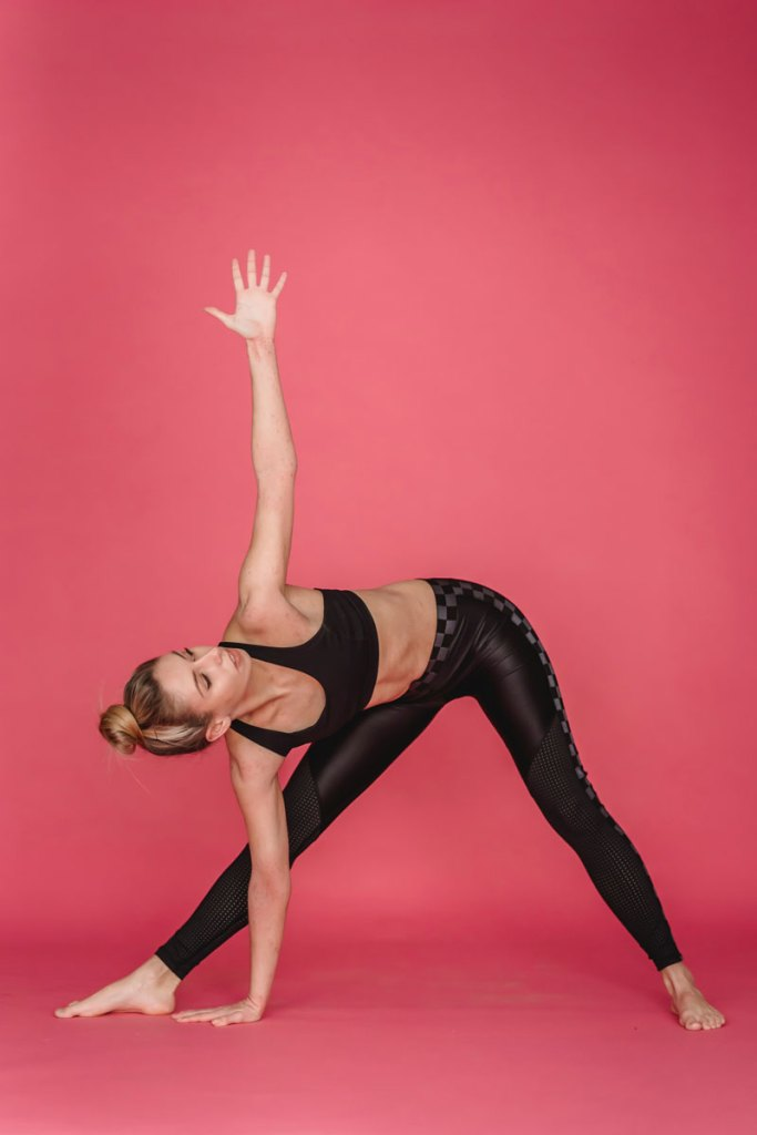 Extended triangle bend yoga flow