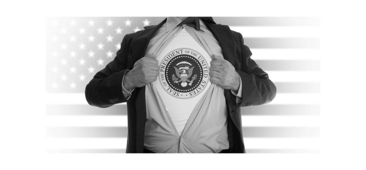 Main ripping open shirt to reveal presidential seal