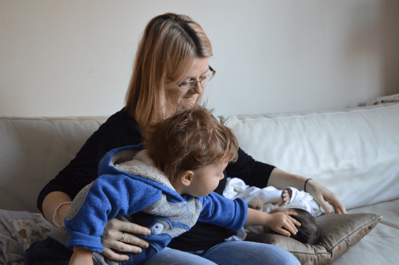 Mantra for mothers - mum, toddler and new baby