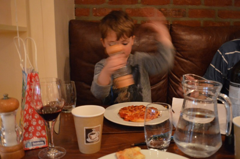 Child eating pizza at Marriott hotel