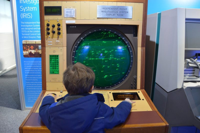 A little boy looking at an Independent Radar Investigation System IRIS