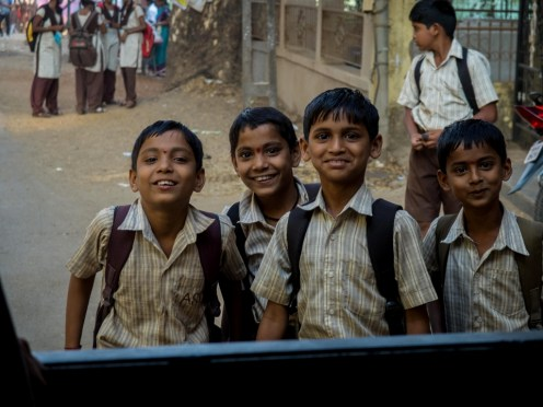 Curious schoolchildren, Mahad, Maharashtra (picture by PB)