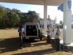 Petrol station on the road to Mangaon, Maharashtra
