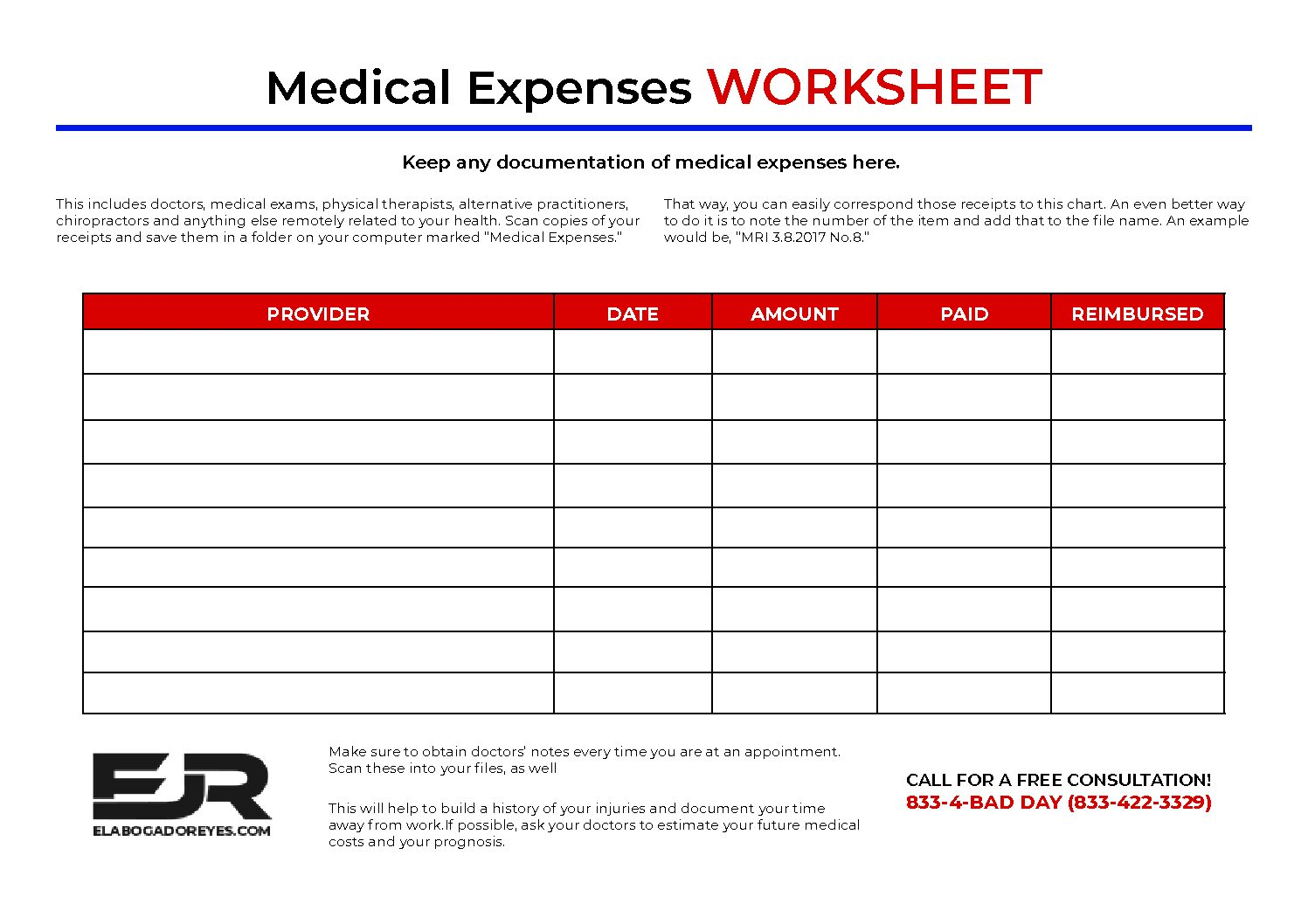 Damages And Expense Worksheet
