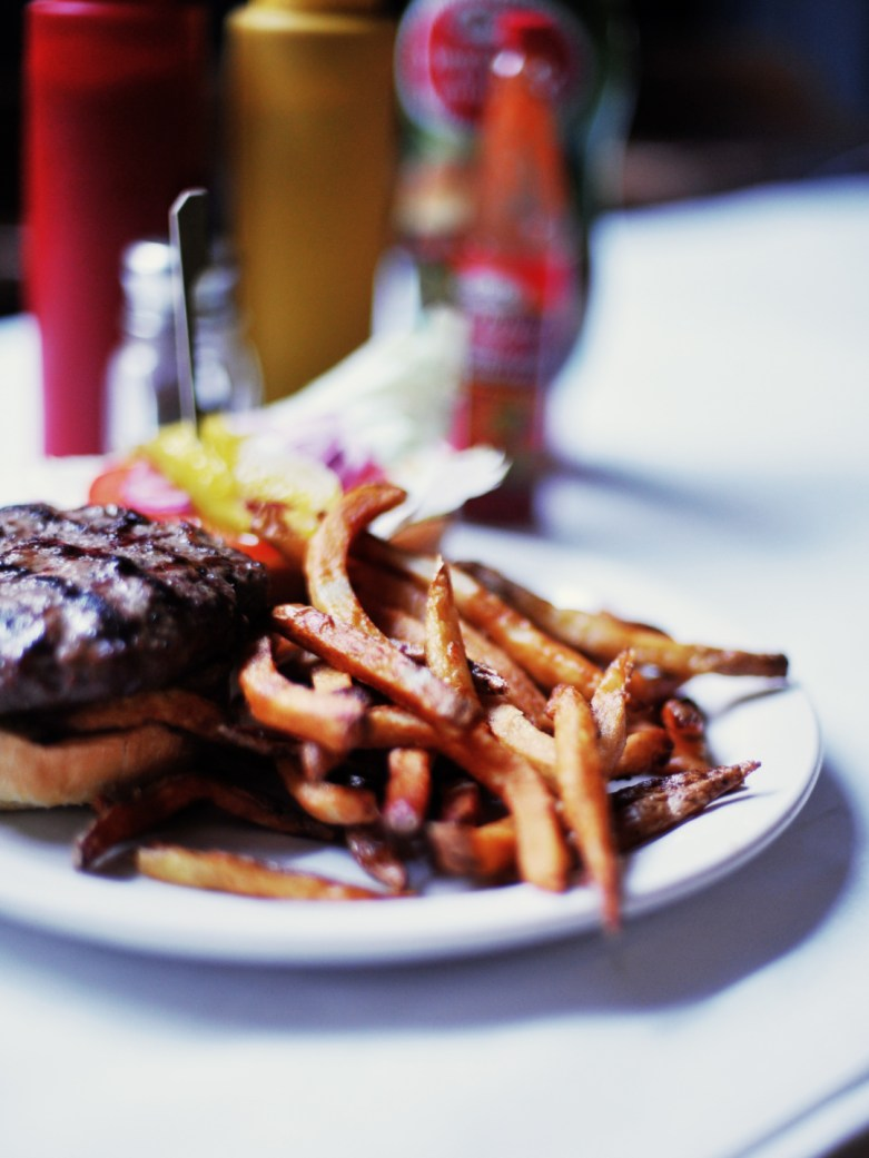 → The Traditional Rhino Burger – 8 oz. naturally raised ground beef on a kaiser with fries [or salad]