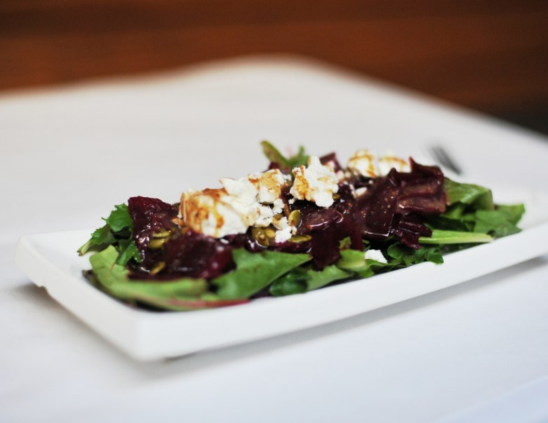 → Red Beet + Goat's Cheese Salad – with pomegranate and roasted pumpkin seeds