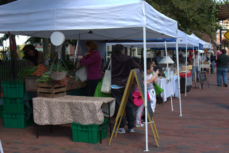 The stands at the Providence Downtown Farmers' Market.