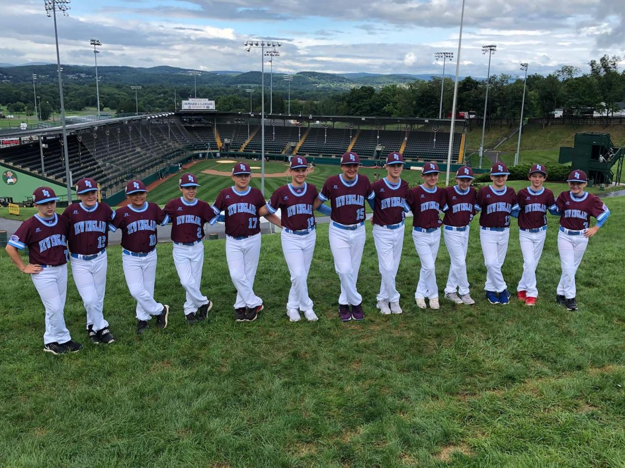 Coventry Little League Baseball Team stands on famous hill overlooking Lamade Stadium at Little League World Series