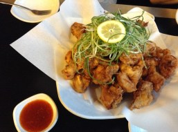 Green onion fried chicken with some sweet chili sauce in Cheongju