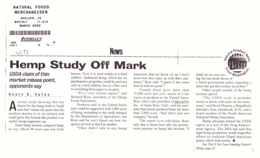 2000: Hemp Study Off Mark; Natural Foods Merchandiser