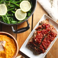Meatloaf, Lemon Garlic Green Beans, and Mashed Sweet Potatoes