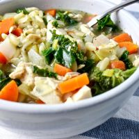 Kale Chicken Orzo Soup with Lemon