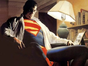 Alex Ross' painting of Superman, half-asleep in a chair