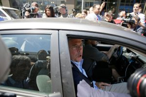 Republican presidential candidate former Florida Gov. Jeb Bush departs in an Uber car after making a visit to Thumbtack, an online startup, Thursday, July 16, 2015, in San Francisco. (AP Photo/Eric Risberg)