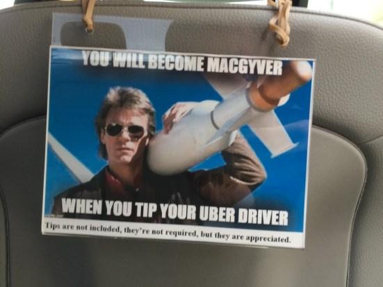 Uber driver tip sign