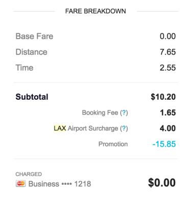 LAX Passenger Receipt Showing Airport Surcharge