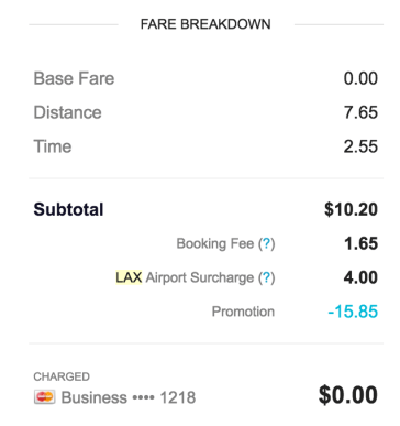 LAX Passenger Receipt Showing Airport Surcharge