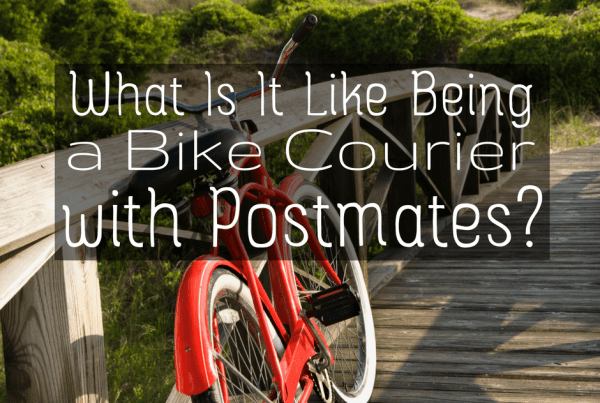 What's it like being a bike courier for Postmates? Your questions answered here, including how to handle drinks and the pros/cons of bike delivery.