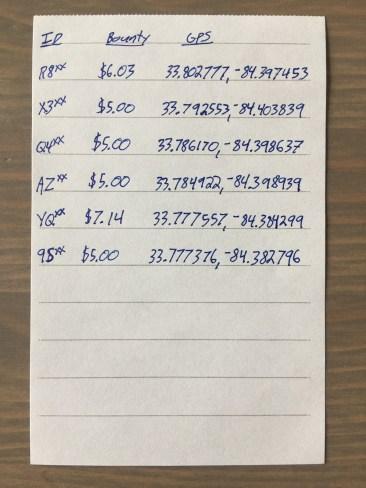 Image of written list of Birds to capture