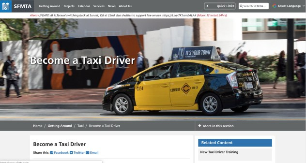 image of San Francisco Municipal Transportation Agency taxi onboarding