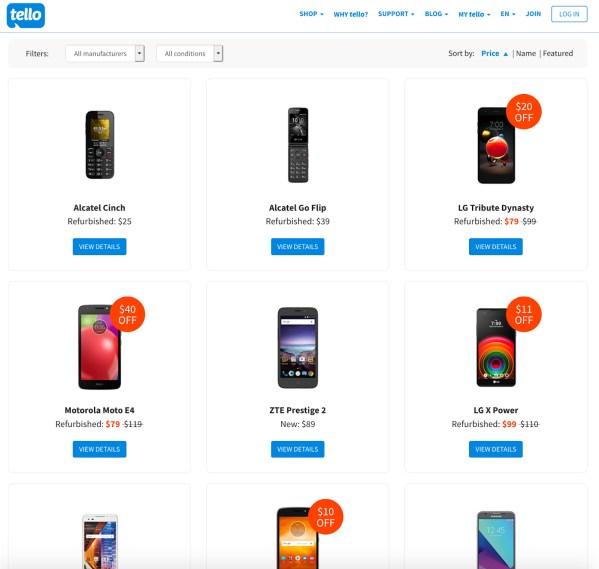image of tello phone options