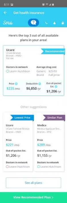 image of health insurance plans available through Stride tax app mileage tracker