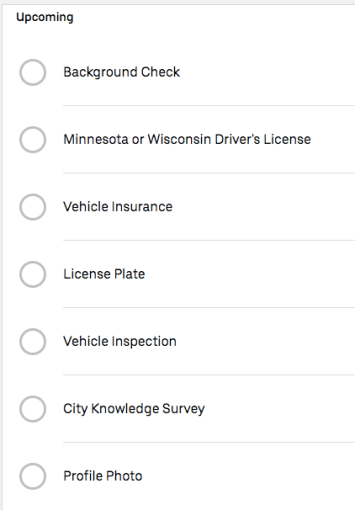 Uber driver application requirements