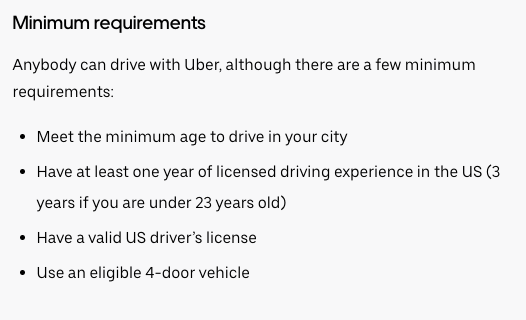 Uber driver minimum requirements