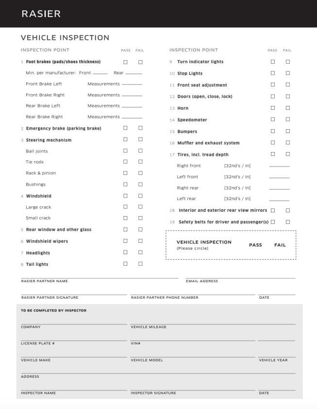 Uber inspection form