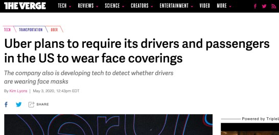uber requires drivers to wear masks
