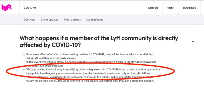 lyft's coronavirus sick pay statement