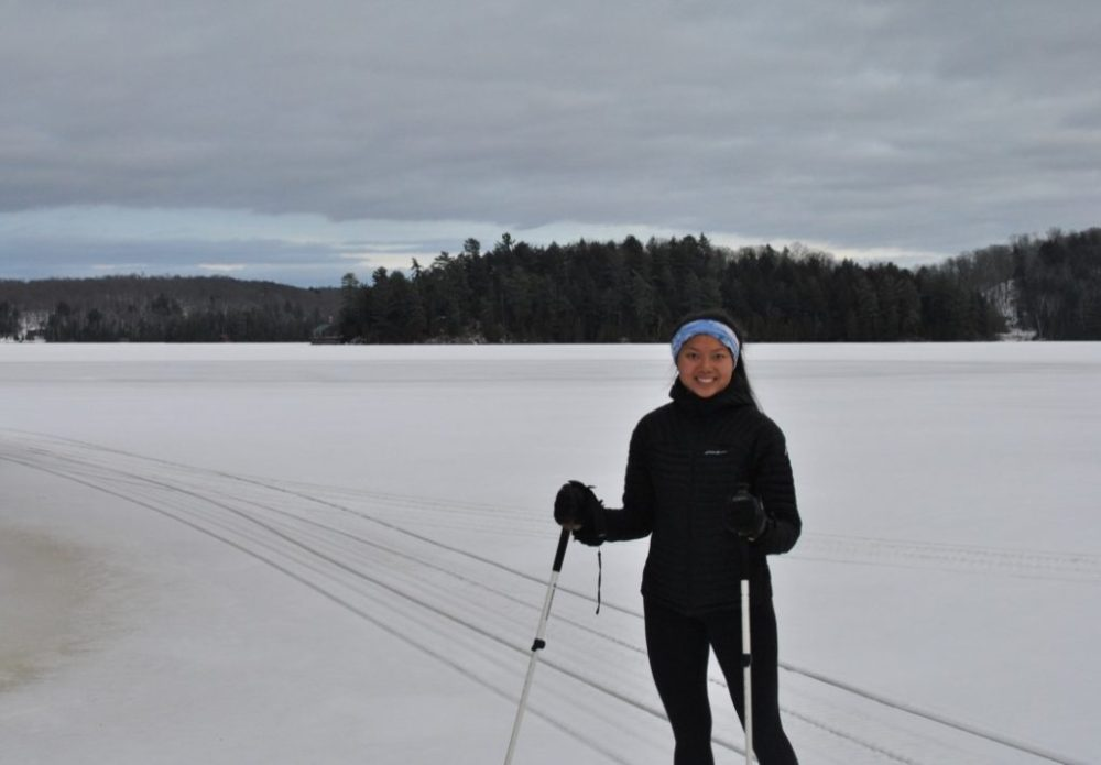 Eddie Bauer Microtherm 2.0 StormDown Jacket Review - cross country skiing in Ontario
