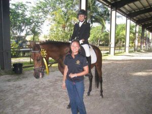 Ong Wan Ming with her riding student