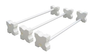 3 white cavalletti with blocks fixed on the ends can be used in place of trot poles
